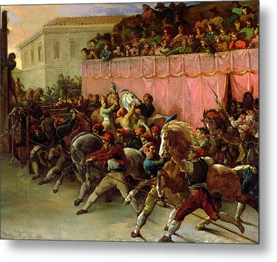 The Riderless Racers At Rome Metal Print by Theodore Gericault