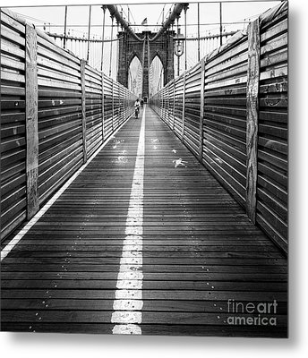 The Riders Brooklyn Bridge Metal Print by John Farnan