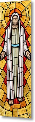 Metal Print featuring the glass art The Risen Christ by Gilroy Stained Glass