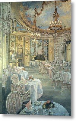 The Ritz Restaurant Oil On Canvas Metal Print