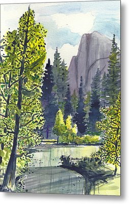 Metal Print featuring the painting The River At Yosemite by Terry Banderas
