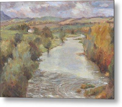 The River Tweed, Roxburghshire, 1995 Metal Print by Karen Armitage