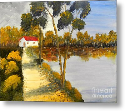 Metal Print featuring the painting The Riverhouse by Pamela  Meredith