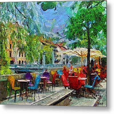 The Riverside Cafe Metal Print by Dragica  Micki Fortuna