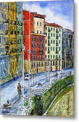 The Riverside Houses At Bilbao La Vieja Metal Print by Zaira Dzhaubaeva