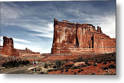 The Road Through Arches Metal Print by Benjamin Yeager