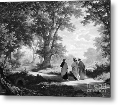 The Road To Emmaus Monochrome Metal Print by Tina M Wenger