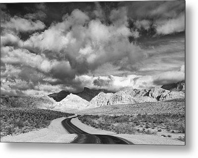 The Road To Turtlehead Peak Las Vegas Strip Nevada Red Rock Canyon Mojave Desert Metal Print by Silvio Ligutti
