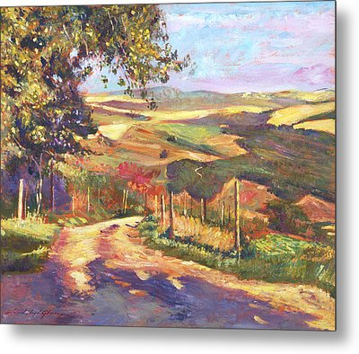 The Road To Tuscany Metal Print by David Lloyd Glover