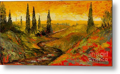 The Road To Tuscany Metal Print by Larry Martin