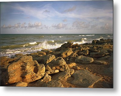 The Rocks Iv. Flagler County. Metal Print by Chris  Kusik