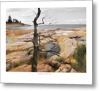 Metal Print featuring the painting The Rocks Of The Bay by Bob Salo