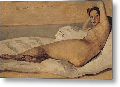 The Roman Odalisque Metal Print by Jean Baptiste Camille Corot