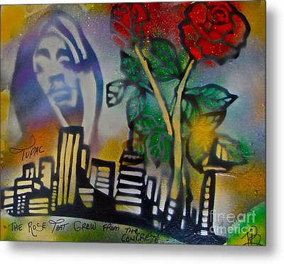 The Rose From The Concrete Gold Metal Print by Tony B Conscious