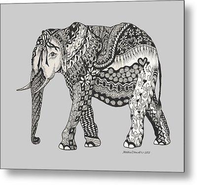 The Royal Elephant Zentangled Metal Print