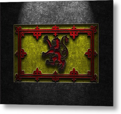 Metal Print featuring the digital art The Royal Standard Of Scotland Stone Texture by Brian Carson