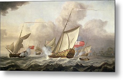 The Royal Yacht Mary Exchanging Salutes, 18th Century Metal Print by Cornelis van de Velde