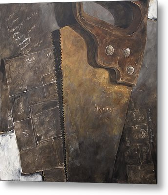 The Rusty Saw And The Buildingplans Metal Print by Anke Classen