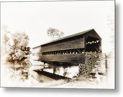 The Sachs Covered Bridge Near Gettysburg In Sepia Metal Print by Bill Cannon