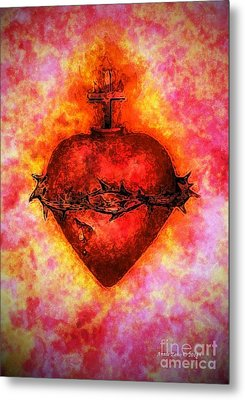 The Sacred Heart Of Jesus Christ Metal Print by Annie Zeno