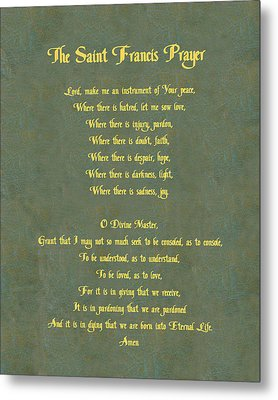 The Saint Francis Prayer In Gold Lettering On Green Leather. Metal Print