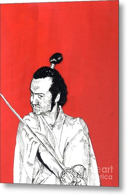 Metal Print featuring the mixed media The Samurai On Red by Jason Tricktop Matthews