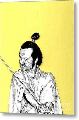 Metal Print featuring the mixed media The Samurai On Yellow by Jason Tricktop Matthews