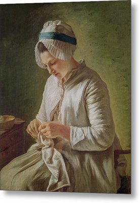 The Seamstress Or Young Woman Working Metal Print