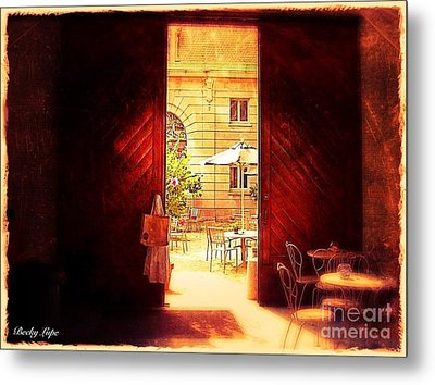 The Secret Courtyard  Metal Print by Becky Lupe