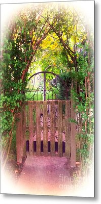 The Secret Gardens Gate Metal Print by Becky Lupe