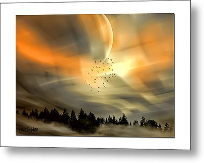 Metal Print featuring the mixed media The Setting Sun Over The Rising Mist by Tyler Robbins