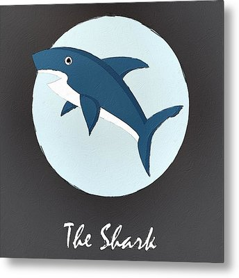 The Shark Cute Portrait Metal Print
