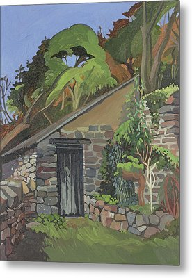 The Shed, Clovelly Oil On Board Metal Print by Anna Teasdale