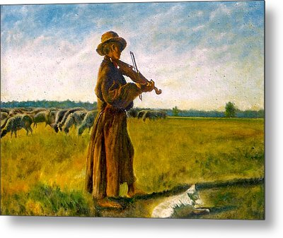 Metal Print featuring the painting The Shepherd by Henryk Gorecki