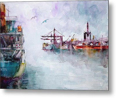 Metal Print featuring the painting The Ship At Harbor Entrance by Faruk Koksal