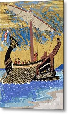The Ship Of Odysseus Metal Print by Francois-Louis Schmied