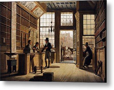 The Shop Of The Bookdealer Pieter Meijer Warnars On The Vijgendam In Amsterdam, 1820, By Johannes Metal Print by Bridgeman Images