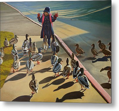 Metal Print featuring the painting The Sidewalk Religion by Thu Nguyen