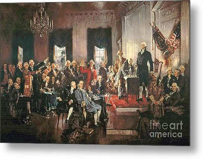 The Signing Of The Constitution Of The United States In 1787 Metal Print by Howard Chandler Christy