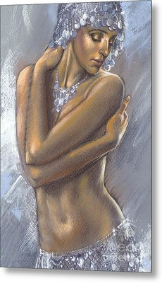 The Silver Dancer Crop Metal Print by Zorina Baldescu