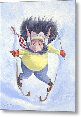 The Skier Metal Print by Leonard Filgate