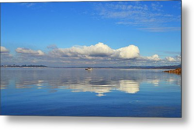 The Sky The Lake And The Boat Metal Print by Rima Biswas