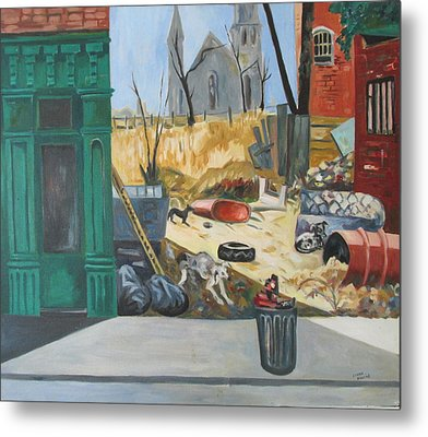Metal Print featuring the painting The Slum Dogs by Linda Novick