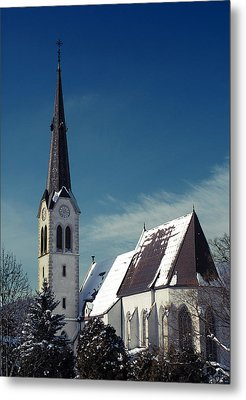 The Snow And The Church Metal Print by Antonio Castillo