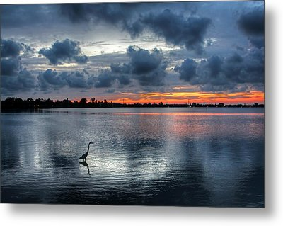 The Solitary Fisherman - Florida Sunset Metal Print by HH Photography of Florida