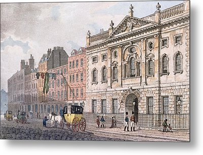 The South Front Of Ironmongers Hall, From R. Ackermanns Repository Of Arts 1811 Colour Litho Metal Print by English School