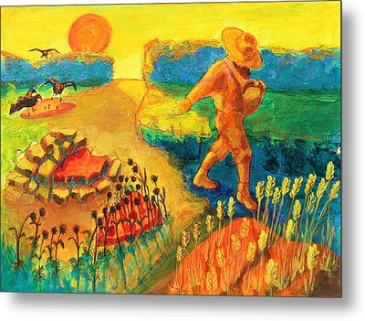 The Sower Painting By Bertram Poole Metal Print by Thomas Bertram POOLE