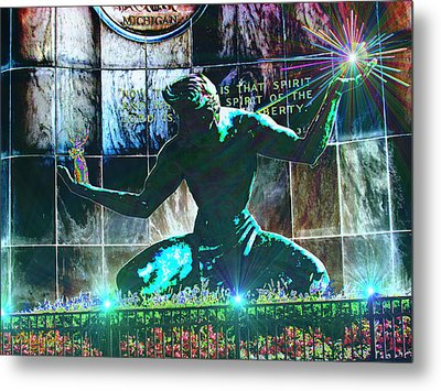 The Spirit Of Detroit Metal Print by Michael Rucker