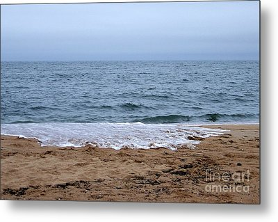 The Splash Over On A Sandy Beach Metal Print by Eunice Miller