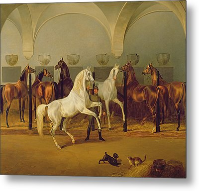 The Stables At Babolna Metal Print by Otto Stotz